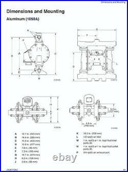 1 Graco Husky 1050 Aluminium Air Diaphragm Pump (SS/PTFE/TPE) 647110