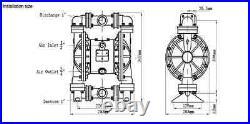 Industrial 1 Aluminum/Hytrel Pump Double Diaphragm Air Pump, 220F, NEW IN BOX