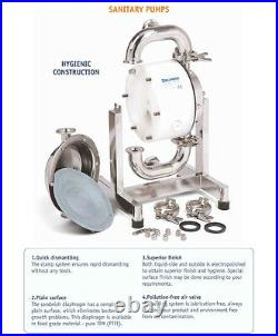 ½ Sanitary Dellmeco Air Diaphragm PumpPolished 316 SS-Food-Beverage-Resin